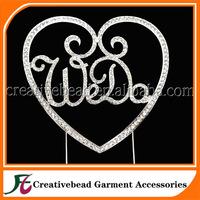 We Do Heart silver diamante rhinestone cake topper for wedding decoration wholesale free shipping