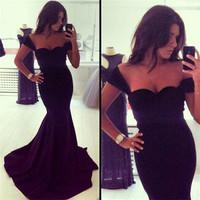 Free Shipping 2014 New Women Sexy Black Dress Deep V Dress Party Prom Elegant Maxi Dresses YS-0014 ebay
