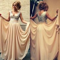 Free Shipping ! Cheap Price ! 2015 New Arrival Design V Neck Women Dress Vestidos Sequins Strap Chiffon Evening Dresses OE3020