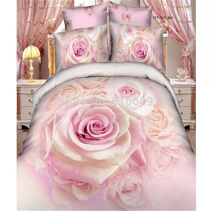Reactive printed 3D bedding set linen cotton pink rose flower bed set queen size duvet cover/bed sheet/bedspread/pillowcase(China (Mainland))