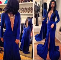 Free Shipping 2014 Women Deep V Halter Split Evening Dress Elegant Long Sleeves Evening Gowns Dresses Nightclub Party Dresses