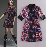High Quality New Fashion Runway Brands 2015 Spring Dress Women Turn-Down Collar Vintage Retro Print Half Sleeve Designer Dress
