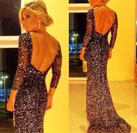Free Shipping Evening Dress 2014 New Women Elegant Black Shiny Halter Party Dresses Slim Package Hip Sexy Nightclub Dress