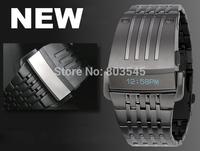 New Fashion Digital Men Full Steel Led Watch Sport Watches Men Military Watches Metal LED Faceless Bracelet Watch Wristwatch