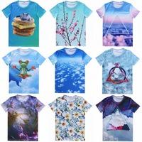 The new spring 2015 men and women fashion T-shirts 3D animal cat cloud flower landscape men hedging short-sleeved T-shirt S-XXL