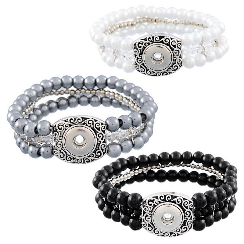 Bracelet Jewelry 1PC DIY Mini Snap Button Stretch Bracelet 3 row Big Beads 19.5cm(China (Mainland))