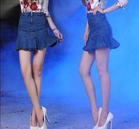 2015 S M L XL 2XL Women Fashion Empire Ruffles Trumpet Mini Skirts Lady Sexy Denim Mermaid Short Skirts 3259