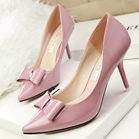 Free shipping 2015 sweet wedding shoes women high heels pumps bowknot princess shoes PU sexy  ladies shoes female red sole shoes