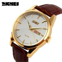 Genuine SKMEI Luxury Brand Men Watches Fashion Casual Quartz Sport Waterproof Leather Watch Elegant Men's Wristwatches