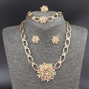Цветок кулон комплект 18 К позолоченные австрийский хрусталь ожерелье браслет кольцо ...