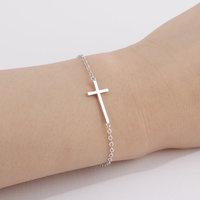 Wholesale 10pcs/lot-2015 Women Men Fine Jewelry Fashion Metalwork Dainty Tiny Sideways Cross Cuff Bracelet in Gold/Silver