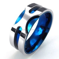 Jewerly Men's 316L Stainless Steel Titanium Gorgeous Blue Valentine's Band Rock N' Roll Ring M073330
