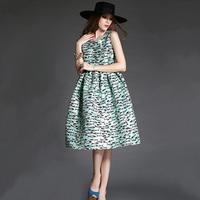 New Women's Spring Clothes Dresses 2015 Fashion Elegant Pattern Print Slim Medium-long Dress