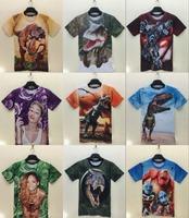 tops 2015 spring new tshirt 3D digital robot T-shirt anima shirts animal print high-quality t shirt short-sleeved cotton tee