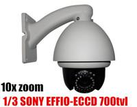 "1/3 SONY EFFIO-ECCD 10x PTZ dome security camera,4"" Outdoor mini high speed dome camera,Color 650TVL; B/W 700TVL"