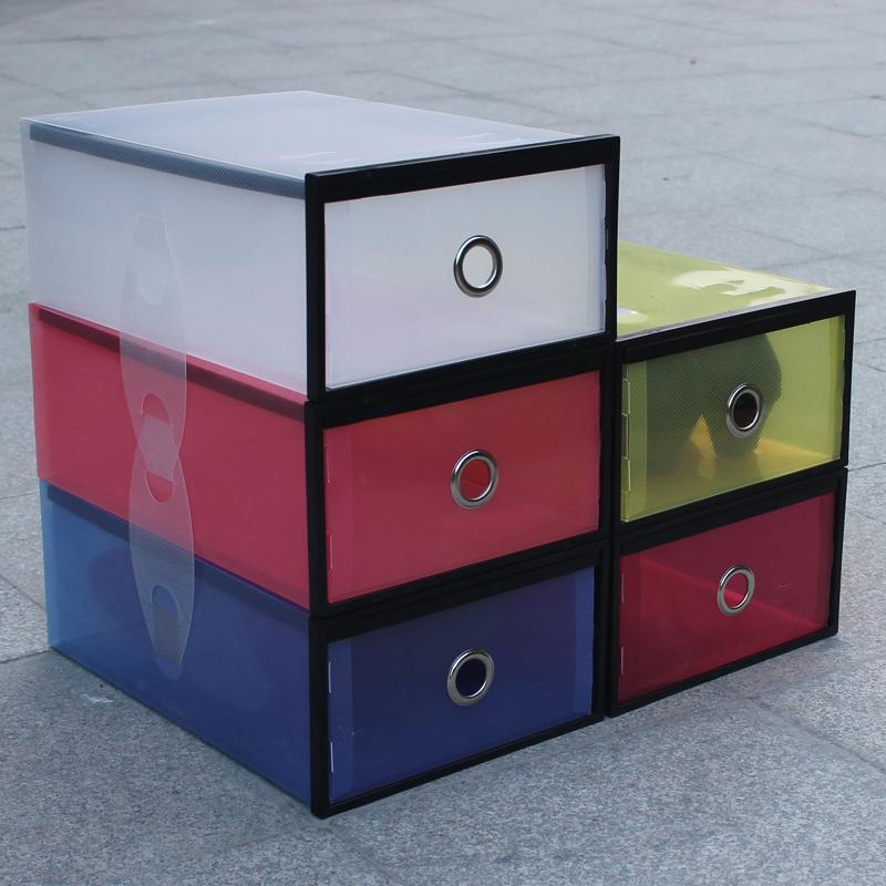 Transparent plastic pp shoes storage box drawer hemming thickening shoes display(China (Mainland))