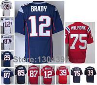 American Football 12 Tom Brady Jersey 75 Vince Wilfork 85 Chad Ochocinco 87 Rob Gronkowski 25 Patrick Chung Jersey Red Blue
