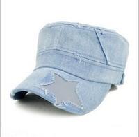 Vintage Jean Hats Korean Navy Street Hipster Stitching Snapback Cap Bucket Hat Clothes Accessories
