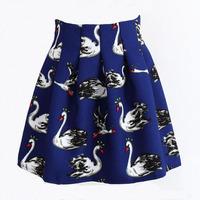 Swan Print Skirt 2015 Spring Summer Womens Fashion High Waist Animal Printed Saias Femininas Sun Pleated Short Mini Skirts