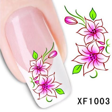 1Pcs Nail Art Water Sticker Nails Beauty Wraps Foil Polish Decals Temporary Tattoos Watermark + Free Shipping (XF1003)(China (Mainland))