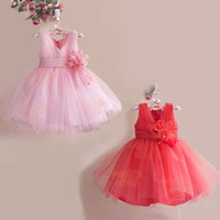 2015 Summer Baby Clothing Vestidos Casual Dresses Pink/Red Cotton  Flower Party Dress kids baby girl dresses children clothing