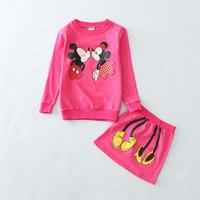 New Retails children girls clothing sets spring autumn minnie mouse long sleeve cotton fleece shirt top +midi skirt