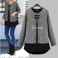 2015 New Woman's faux 2 pieces Chiffon hem patchwork cloak long sleeve blouse Tops Shirts Outerwear Femininas blusas size S-XXL