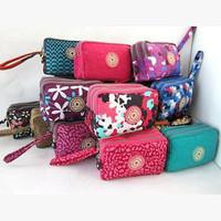 New 2015 canvas casual women purse and handbag three zippers flower print clutch coin purses wallet for women carteira feminina