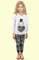 wholesale Hello Kitty  Girls Clothing Sets  baby girls kids Clothes suits pant+shirt sleepwear cartoon 1lot=6pcs pajamas