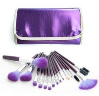 Fashion 16 PCS Makeup Cosmetics Eye shadow Purple Brushes with Bag Case Set  82027