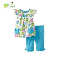 Flower Print Girls Clothing Sets Baby girls Casual Dress Pants Children's Clothing Kids Clothes conjunto vestidos bebes meninas