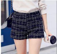 M L XL 2015 Women Fashion Bowtie Plaid Mid Waist Boots Shorts Lady Preppy Plaid Wool Bright Silk Tweed Boots Shorts 3299