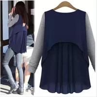 2015 New Fashion Chiffon patchwork Woman Long sleeve blouse femininas blusas Casual tops t shirts size S-XXL