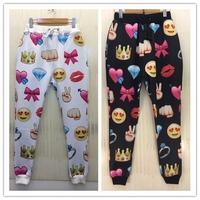 New 2015 Fashion Spring antumn Women and men pants emoji joggers harem pants joggers