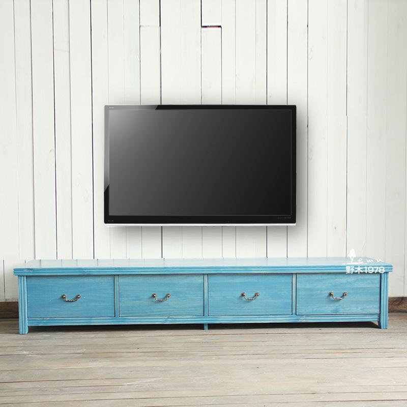 Boek van mediterraan blauwe minimalistische hout tv meubel lade vol europese grenen eiken tuin - Kast kind grenen ...