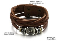 Fashion Jewelry 2015 New Women Mens Woven Multilayer Charm Bracelets Bangles Brown Genuine Cow Leather Bracelet Wholesale