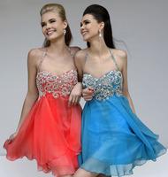 WOW BRIDAL 2015 New Arrival Sweetheart Beaded Strap Mini Short Cocktail Dresses A Line Backless Robes Vestido De Festa dress