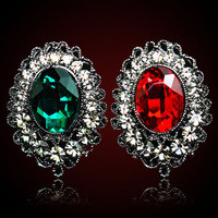 QMODE 2015 Unique Design Palace Luxury Red/Green Gem Earring Big Shiny Teardrop Crystal Ear Stud High Quality Free Shipping