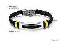 HoT Sale Fashion Jewelry Stainless Steel Rock Men Boy's High Quality Pu Leather Bracelet Bangle Wholesale