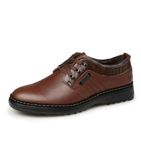 Free Shipping Genuine Leather Male Casual Shoes Leather Plus Velvet Men's Flats Cowhide Fashion Shoes Cotton-Padded Shoes