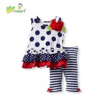 Dot Girls Clothing Sets Baby Girls Casual Dress Stripped Pants Children's Clothing Kids Clothes Conjunto vestidos bebes meninas