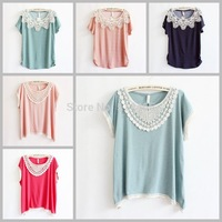 [Magic] 2015 Wave point printed women/girl t shirt cotton lace blouse tees plus batwing sleeve big size casual dress 6color