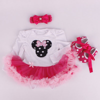Baby clothing Cotton Newborn Romper Tutu Dress Casual Long Sleeve Baby Clothing Headbands Dress Shoes 3 Pieces Sets Kids Clothes