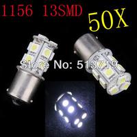Free shipping Factory wholesale 50pcs/lot 1156 BA15S 13 SMD 5050 chip Tail Brake white light auto led Car bulb light
