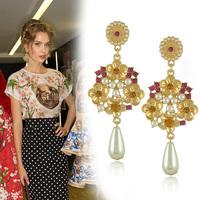 Europe Hot Sell High Quality Italian Brand Flower Dangle Earrings for Women 2015 brincos pendientes