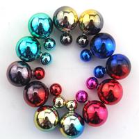 2015 New Fashion Paragraph Hot Selling Earrings Double Side Shining Pearl(16mm) Stud Earrings Big Pearl Earrings For Women