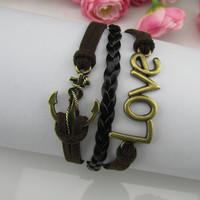 2015 Hot sale Vintage anchor LOVE multilayer bracelet velvet rope bracelet with leather rope wax rope fashion bracelets pulseras