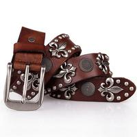 hot sale rivet punk belt for men women 100% genuine leather cowskin designer belts for vintage color cool fashion free shipping