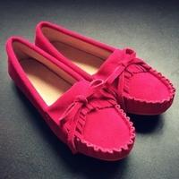 2014 women flats women genuine leather shoes flat driving woman casual shoes19 colors 35-40 plus size Bowtie Tassel shoes XZ12