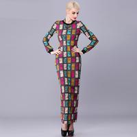 women work wear 2015 spring vintage style elegant plus size xl xxl slim fits plaid knitted thick bodycon formal long maxi dress
